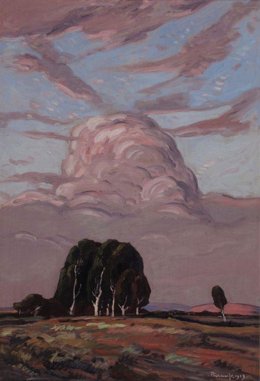 Hendrik, stapelwolke bo bloekoms , 1923, olie op paneel, 850 x 580 mm